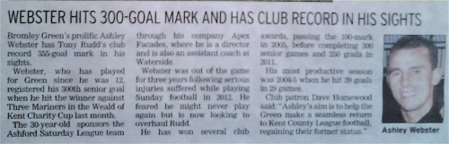 December 2016 Ashley Webster 300 senior appearances Kentish Express