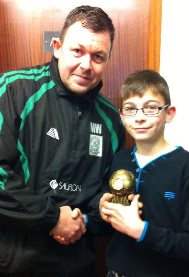 Player of the match, birthday boy Curtis, with Martin Wirt