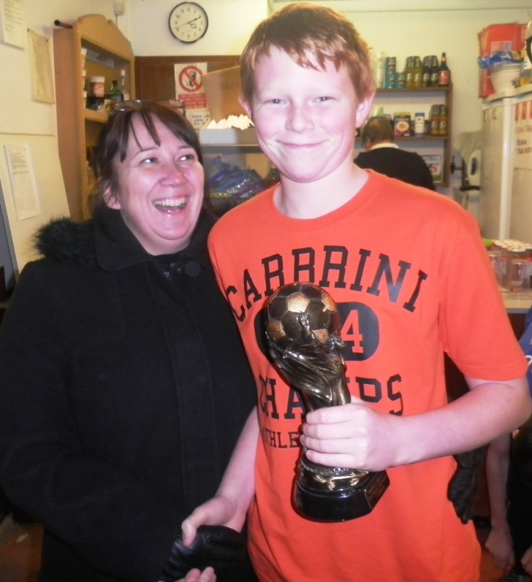 Sharon presents the Player of the Match award to Nathan