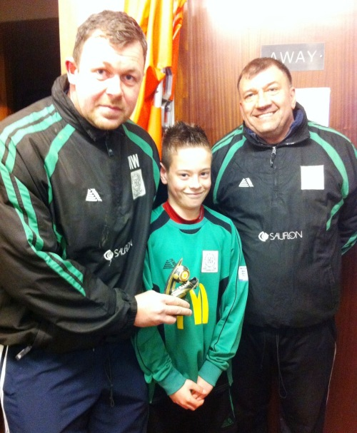 Player of the Match against Ashford, Cameron, with Martin Wirt and Ian Mace
