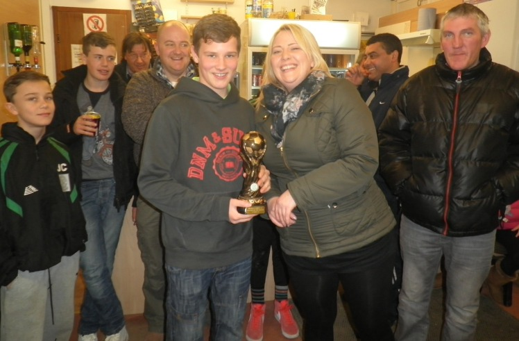 Back from Birchington with a 2-1 win, Nicola presents Tyler with the Player of the Match award