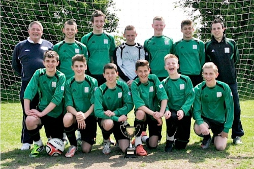 19.5.2013 U16s with the league trophy before Sunday's 3-3 draw with Chartham Sports