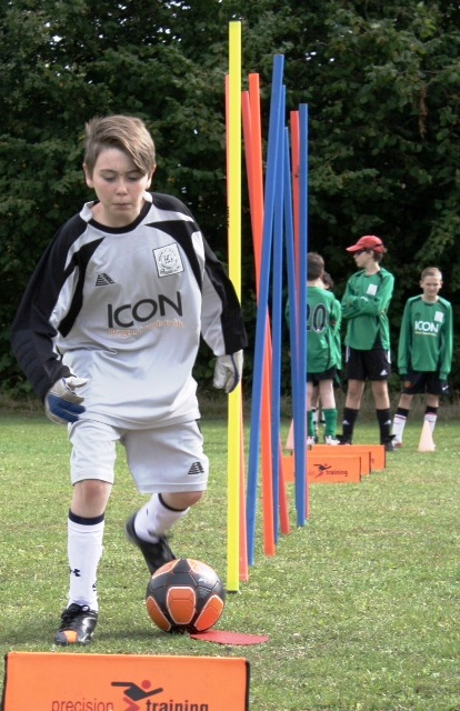 Keeper Kian in training action on Sunday at the Open Day