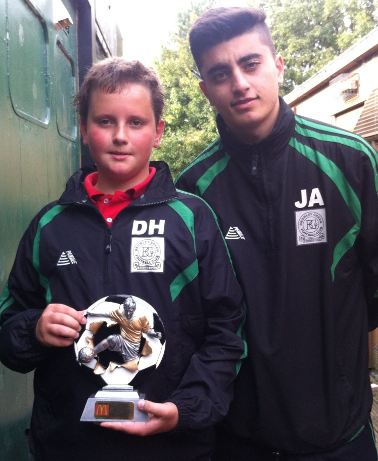 12.10.2013 U14s McDonalds Player of the Match Dan Housden with coach Josh Ahmad