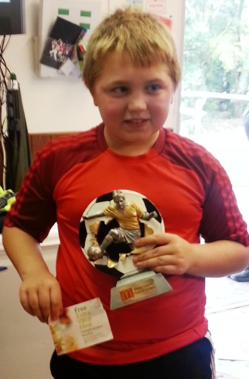 2.11.2013 Callum Keogh with his McDonalds Player of the Match and Meal Voucher