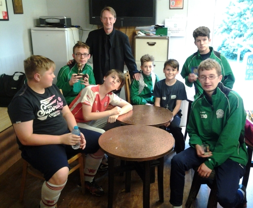 VP Mark Day with the Valiants and U13s who shared some awards on Wednesday 13 July 2016