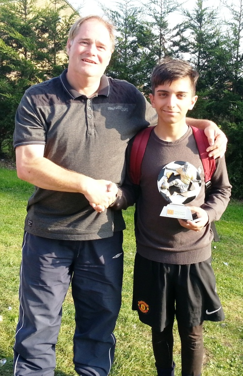 21.9.2014 Cihan receives his award from Dave Andrews