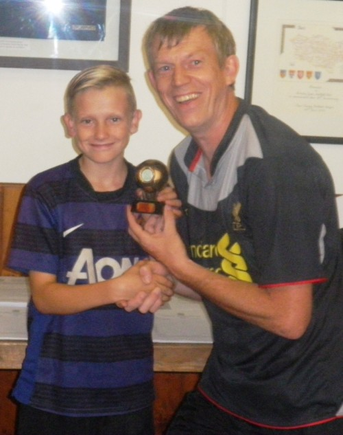 21.8.2013 Kaiden receives his sponsored penalty award from Pat