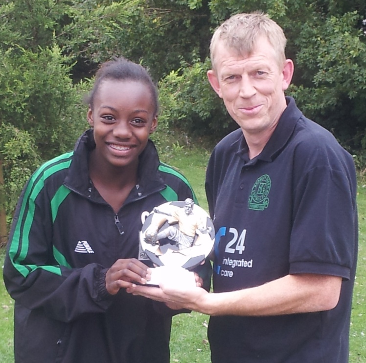 29.9.2013 Ciena receives her McDonalds Player of the Match award from BG Valiants coach Pat Penfold
