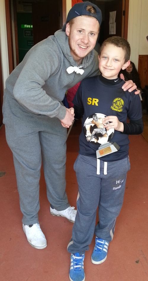 8.3.2014 McDonalds Player of the Match today is Stanley seen here with Jamie Hurst