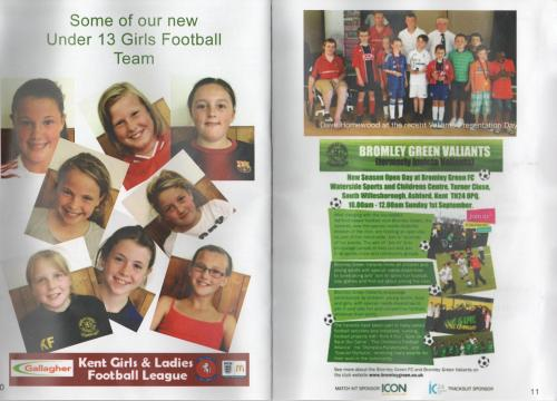 The double page spread with the BG Girls and BG Valiants in the souvenir programme
