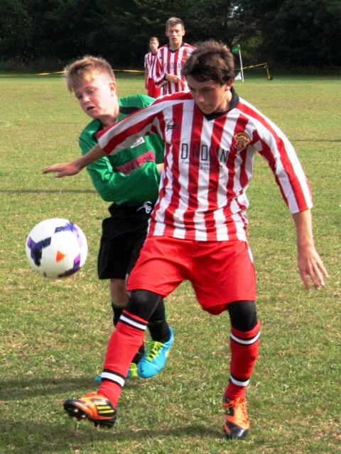 8 September 2013 U16s in new kit Joe Argar in action v Betteshanger