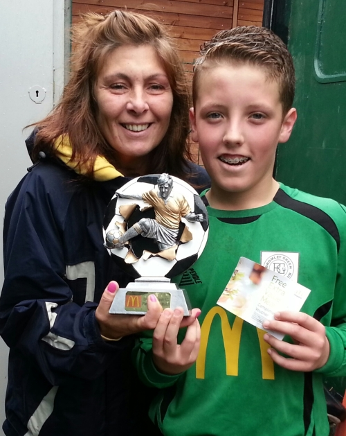 Amanda Lockett and U14s McDonalds Player of the Match Billy Gramson ...  for match summary of Saturday's victory please go to Youth Football tab and scroll down