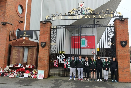 Some of the players visited the Hillsborough Memorial Gate