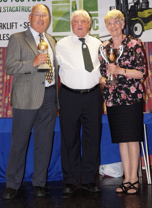 Peter and Madeleine Shrimpton receiving the Ernie Wedge Memorial Cup for the club-wide Supporter of the Year