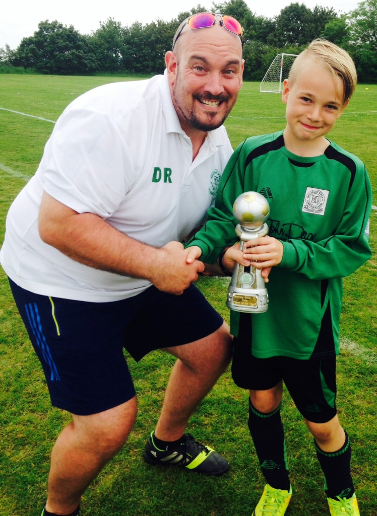 Duncan and U12 Colts Player of the Tournament, Jack, at Sellindge on Saturday