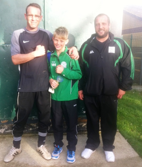 Green PoM Alfie with Damian and sponsor Dave Harkness