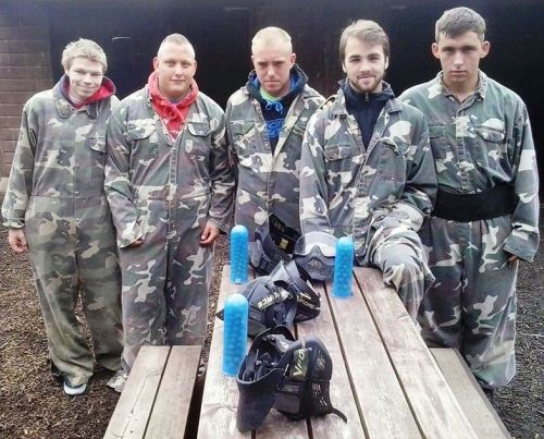 Bromley Green Valiants ready for paintballing action yesterday