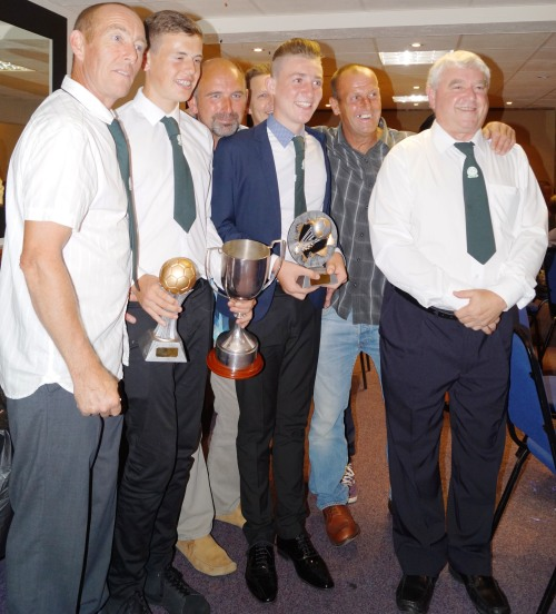 Carl, Youth Clubman Reece, U15s Managers Player winner Josh Twyman and Dave Homewood