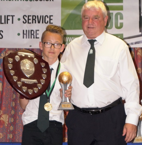 Brilliant Brandon ... well done! The U14s midfielder received his awards for overall Most Improved Youth Player in the club