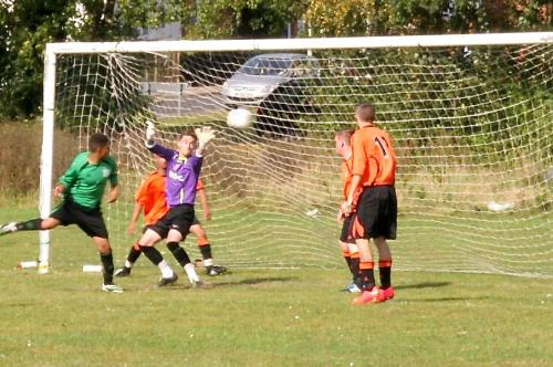 Ryan Prior scores for the Green Reserves in their 2-2 draw with Charing Reserves this morning