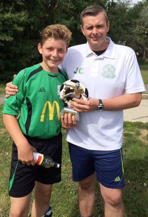 Michael Green, our U14s McDonalds Player of the Match on Saturday, pictured with John