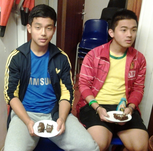 Let them eat cake! Two-goal birthday boy Anjun with Samir after today's thumping cup win