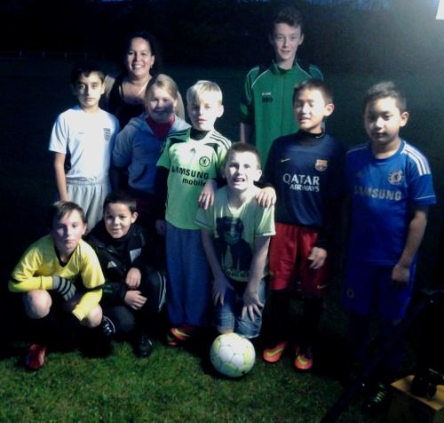Louis Burton and Michelle with the U11s at training last night