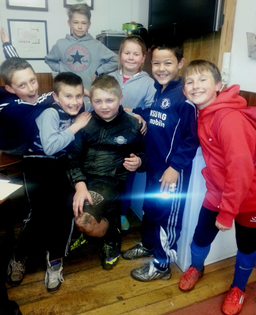 Belated birthday greetings for Callum at last night's U11s training session