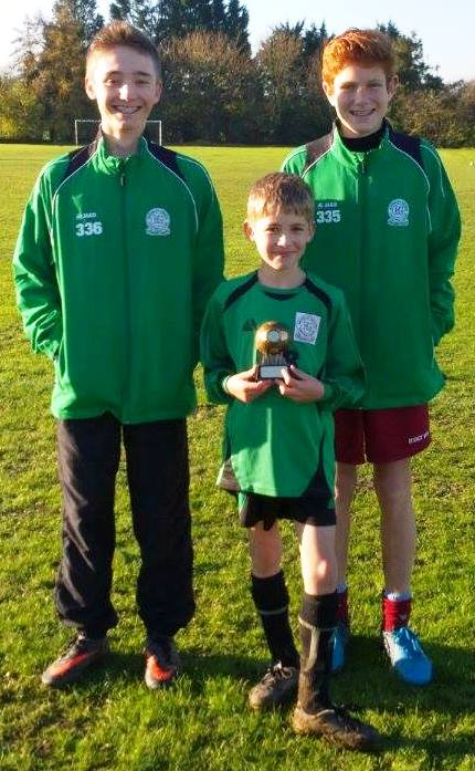 6.12.201Kieran with manager/coaches Sam and Seb