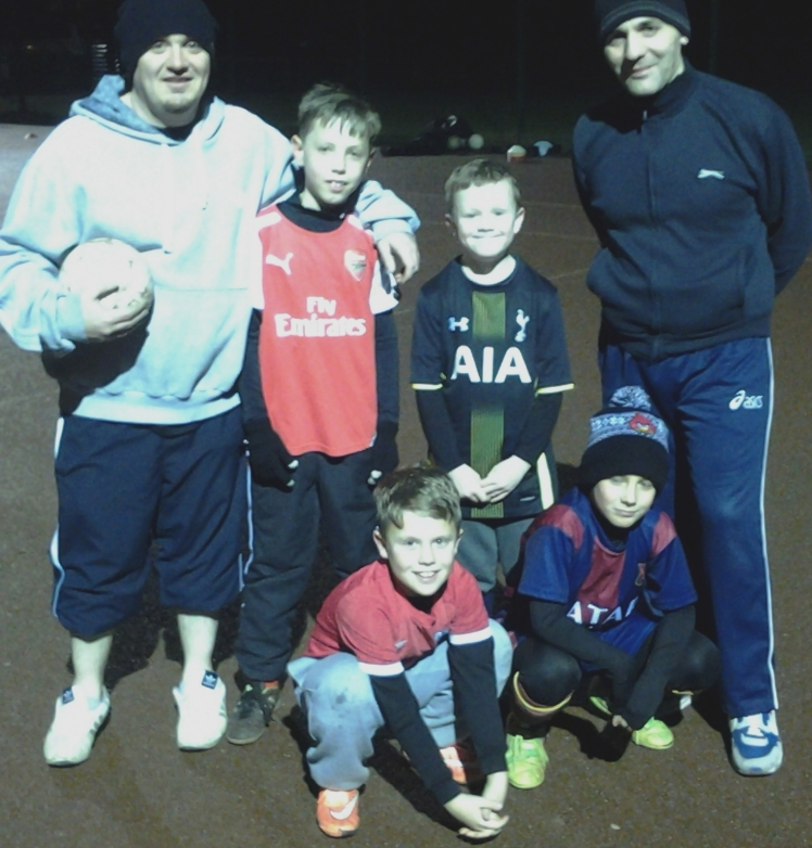 Shane and Guido with some of the Under 9s at training on Monday