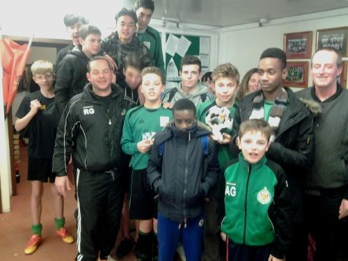 Under 15s celebrating a terrific victory