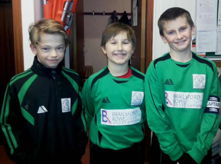 Our three U11 goalscorers after their terrific win on the Marsh ... more photos on the U11s page to follow