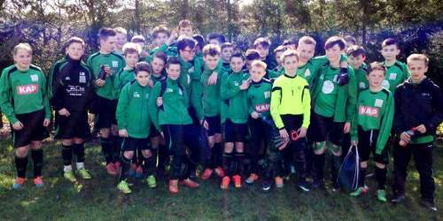 Our two U13 sides after yesterday's 'derby' match