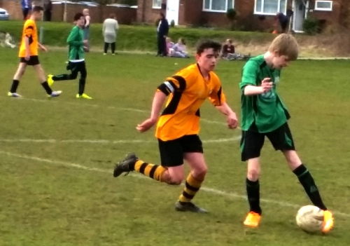 Aaron Maher in action for the Under 15s yesterday at Waterside