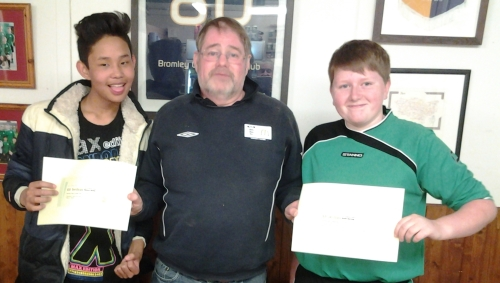 Vouchers as reward for their hard work were presented by Dave Andrews to Rohit Gurung and Mason Smith