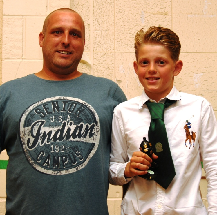 Alfie Norman receives the Character Award from sponsor Dave Harkness