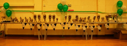 Some of the trophies at the first awards event on Sunday