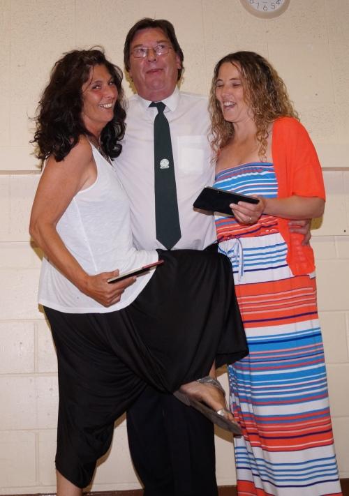 Appreciation Awards to Amanda and Rachel ... poor old Stan!