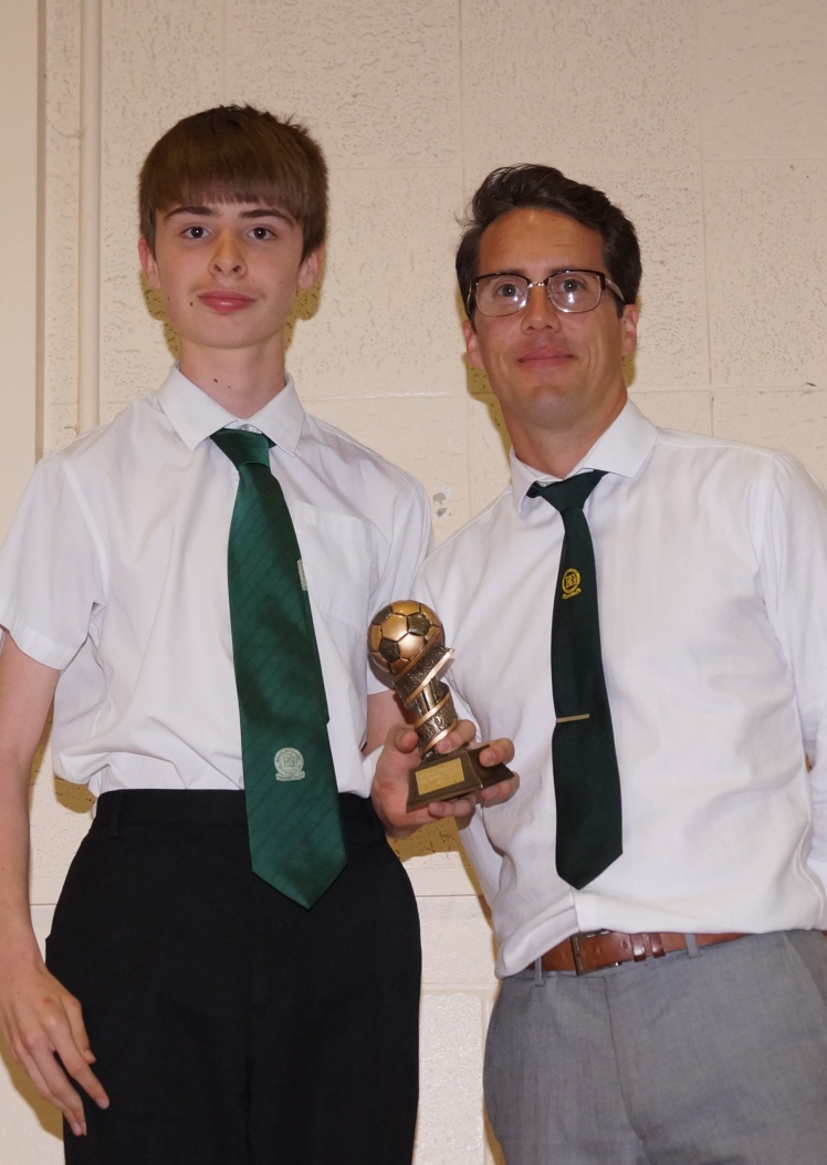 Mathew Baker, Most Improved Player Award for the Valiants U16s, with Terry Perk