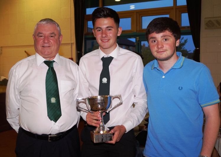 Callum Monaghan [centre] winner of the Peter Knott Memorial Trophy and Senior Endeavour Award, with Dave Homewood and Nathan Cook