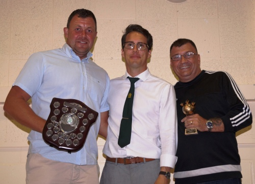 Sharing the Nicola Kingham Memorial Shield for Manager of the Year are Martin and Ian