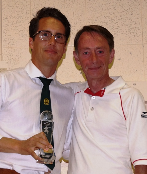 Terry Perk receives the Patrons Award for Excellence from Vice President Mark Day