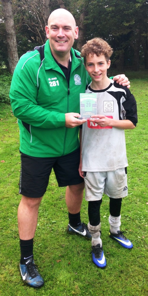 Congratulations to our U14 Colts PoM Daniel Hiller ... it was a busy day between the sticks at New Romney but Dunk and Daniel still find time to smile