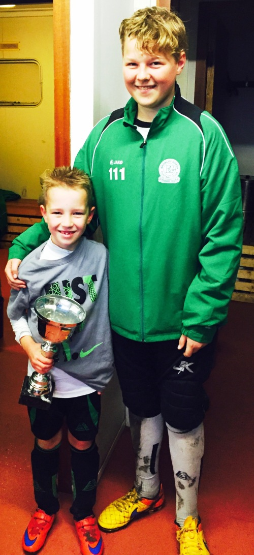 U9s Player of the Match on Saturday was Connor ... seen here with Finley