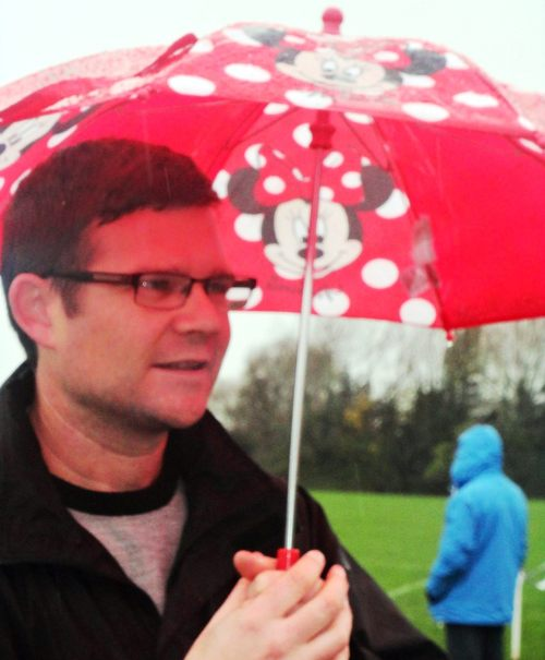 Brian and his pink brolly