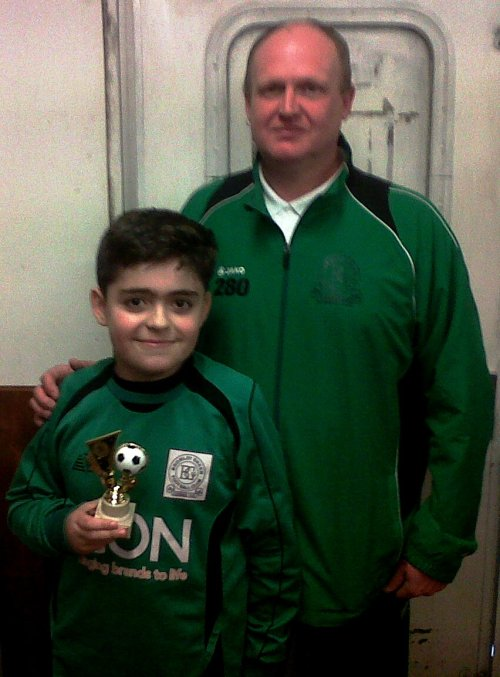 Congratulations Rey ... BGV U13s Player of the Tournament this morning at Rainham seen here with Phil 'Pip' Castle