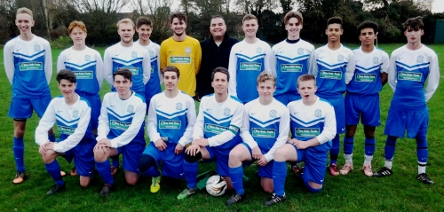 The seniors with their new kit, sponsored by Key Auto Trade, before gaining three crucial points today