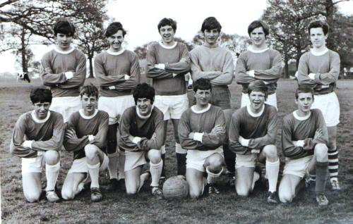 1969.05.11 Charity line-up Kingsnorth Youth Club v Ashford Town played opposite the Farm Stores on the main road. Back: Tony Crumbie, Alan Burden, Dave Homewood, Graham Crumbie, Jimmy Barker, Dave McNally. Front: David Hover, David Jenkins, Peter Messenger, Micky Lukehurst, Terry Watson, Anthony Jenkins