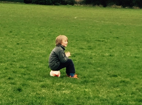 It's early and cold but our U8s and U7s enjoy training. Traffic light warm-up for Peanut means sitting on the ball!